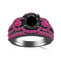 Round Cut Black CZ & Pink Sapphire 10k Gold Finish 925 Silver Bridal Ring Set - $74.04