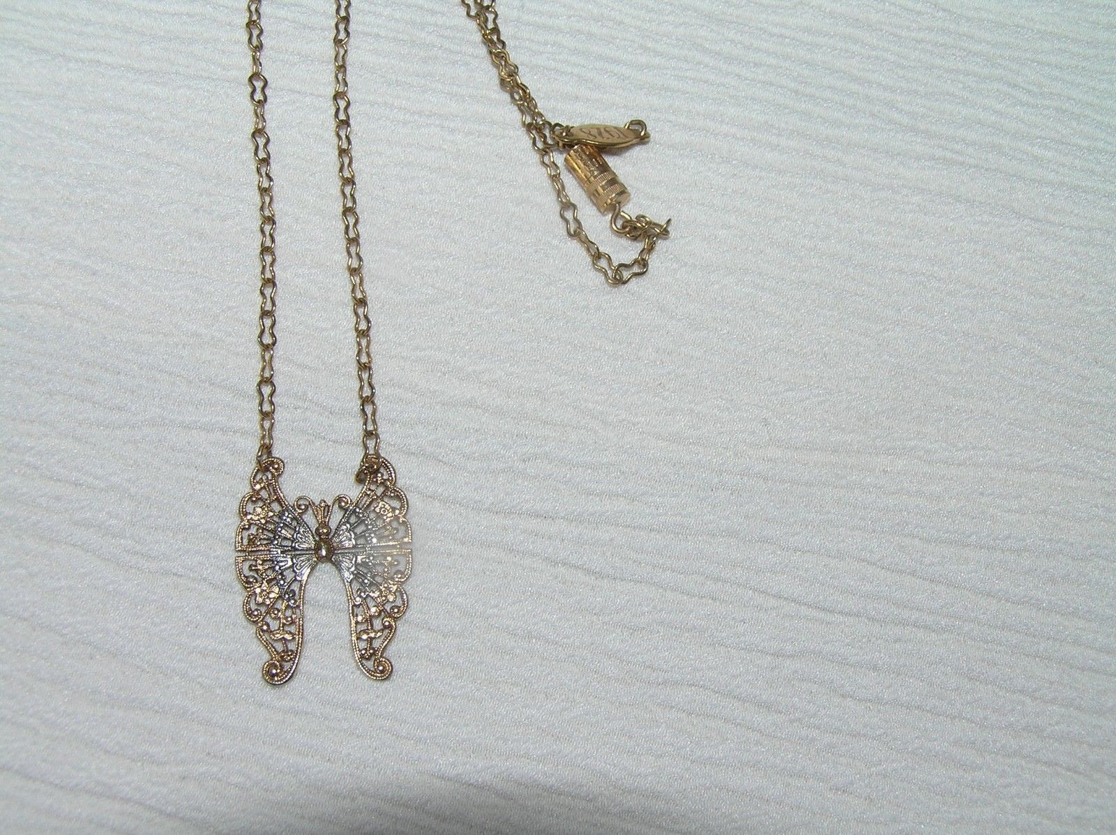 Vintage Reproduction 1928 Marked Goldtone Chain w Two Toned Lacey Moth Butterfly