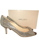 Jimmy Choo Isabel Glitter Champagne Peep Toe Low Heel Pump Shoes 39.5- 9 - $315.00