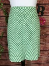 Talbots Skirt 8 Green White Sailor Nautical Straight Above Knee Stretch ... - $29.97