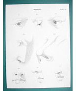 DRAWING for Artists Face Elements Eye Nose Lips - c. 1835 Fine Quality P... - $12.15