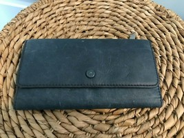Womens FOSSIL Blue Distressed Leather Tri-Fold Clutch Wallet Silver Hard... - $15.84