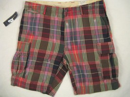 NEW! NWT! $98 Polo Ralph Lauren Handsome Plaid Cargo Shorts!   40 - $49.99