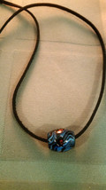 Vintage Glass Trade Bead Necklace on a Suede Leather Cord Men Women - $12.99