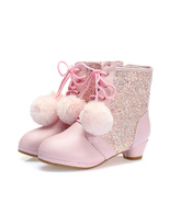 Girls Pink Pom Pom Winter Boots Birthday Sequins snow boots warm girls b... - $79.99+