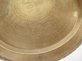 """Huge Brass Asian Tray Centerpiece Charger 22"""" Birds of Prey Rabbit Engraved HTF image 3"""