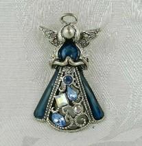 "Vintage Angel Brooch Pin 1.75"" Silver Filigree Clear & Blue Stones - $15.83"