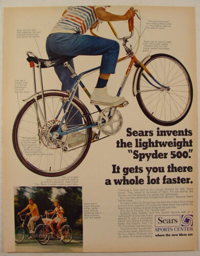 Primary image for 1970 Sears SPYDER 500 Bike with Bucket Banana Seat Print Ad Boys & Girls Bikes