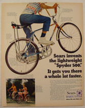 1970 Sears SPYDER 500 Bike with Bucket Banana Seat Print Ad Boys & Girls... - $9.99