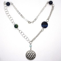 925 Silver Necklace, Agate Blue Striated with Locket Pendant, 55 cm image 2