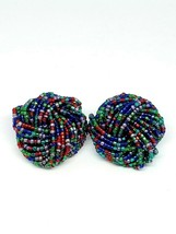 Multi-Color Seed Glass Bead Large Knot Gold Tone Clip Earrings - $13.86