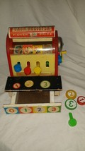 Vintage Fisher Price Wood Cash Register #972 With 3 Wooden Coins (1960's) - $46.75