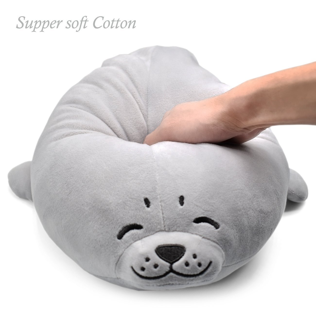 Plush Cute Seal Pillow 16.5 inch/45cm - Stuffed Cotton Soft Animal Toy Grey