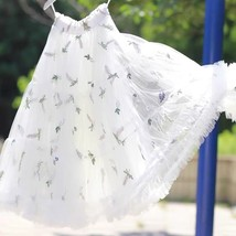 White Cherry Pattern A-line Long Tulle Skirt High Waisted Fairy Tutu Party Skirt image 2