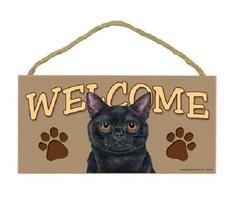 "5"" X 10"" BLACK CAT WELCOME PLAQUE Wooden Sign D... - $12.16"