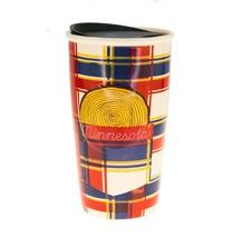 Starbucks Minnesota Blue Red Plaid Ceramic Traveler Tumbler Coffee Mug 1... - $51.28