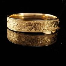 Antique Victorian enamel bracelet taille d'epergne wedding Gold bangle 12kt gold - $275.00