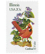 1982 20c State Birds & Flowers, Illinois Cardinal & Violet Scott 1965 Mi... - €1,67 EUR