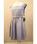Adrianna Pappell Dress US Sz 8 Belted Tea Dress Thistle Light Blue - $118.77