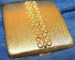 """Vintage Avon Powder Compact 3"""" brushed gold scrolled filigree mirror Imperial"""