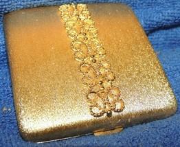 "Vintage Avon Powder Compact 3"" brushed gold scrolled filigree mirror Imp... - $31.49"