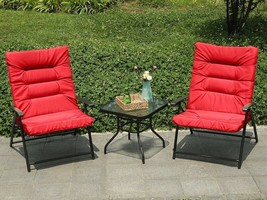 Patio Set For Two Outdoor Garden Coffee Table With 2 Adjustable Cushione... - $231.99