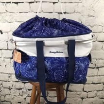 Tommy Bahama Insulated Tote Cooler Bag Picnic Basket Blue White Floral - $39.59