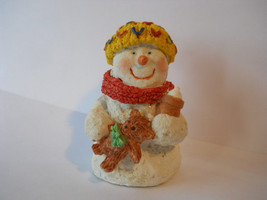 Decorative Snowman with Cap & Teddy Bear Figurine Statue Collectible  n75 - $14.99