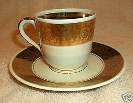 Furstenberg Made In Germany Porcelain Demitasse Cup And Saucer With Gold Design - $39.95