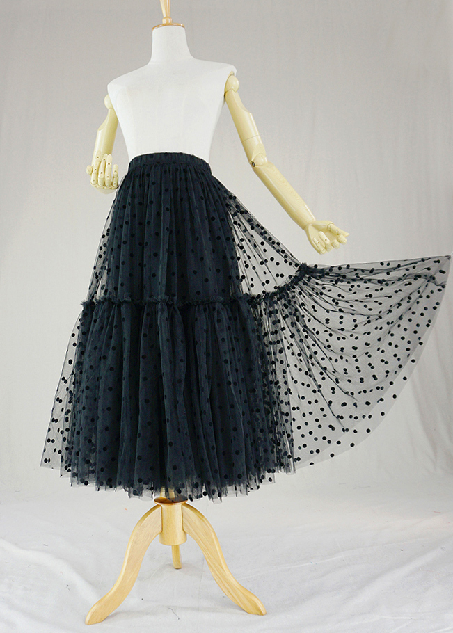 Black dot tulle skirt midi 1