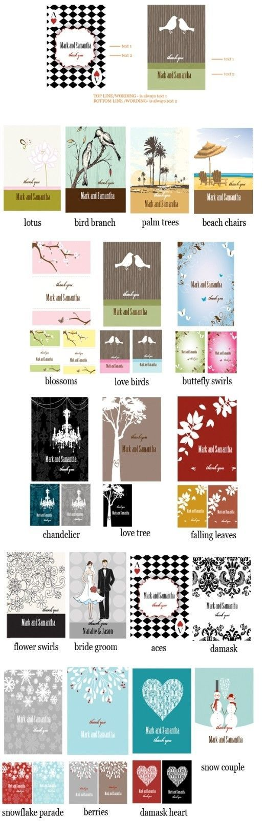 100 Personalized Playing CARDS Wedding Favor Asst Designs Spring Summer Holiday