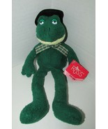 Russ Berrie Plush Luv Pets Fergie frog green beanbag plaid bow black top... - $13.36
