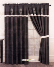 4-Pc Royal Damask Medallion Embroidery Striped Curtain Set Lining Drape ... - $30.74