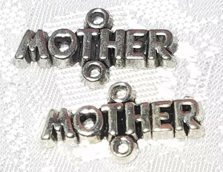 MOTHER WITH HEART FINE PEWTER CONNECTOR CHARM - 20mm L x 11mm W x 2mm D