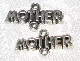 MOTHER WITH HEART FINE PEWTER CONNECTOR CHARM - 20mm L x 11mm W x 2mm D image 1