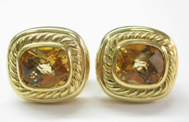 David Yurman 18KT Citrine Square Huggie Earrings 17.5mm 5.00CT - $2,178.00