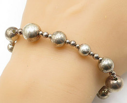 925 Sterling Silver - Vintage Smooth Ball Bead Patterned Chain Bracelet ... - $42.03