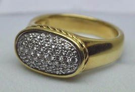 "DAVID YURMAN 18K Yellow Gold ""Noblesse"" Pave Diamond Oval Ring (Size 7) - $1,585.00"