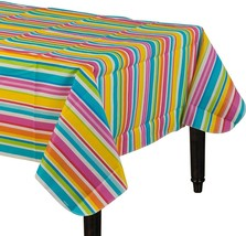 "Amscan 570004 Multi Stripe Border Flannel-Backed Party Table Cover, 52"" ... - $14.85"