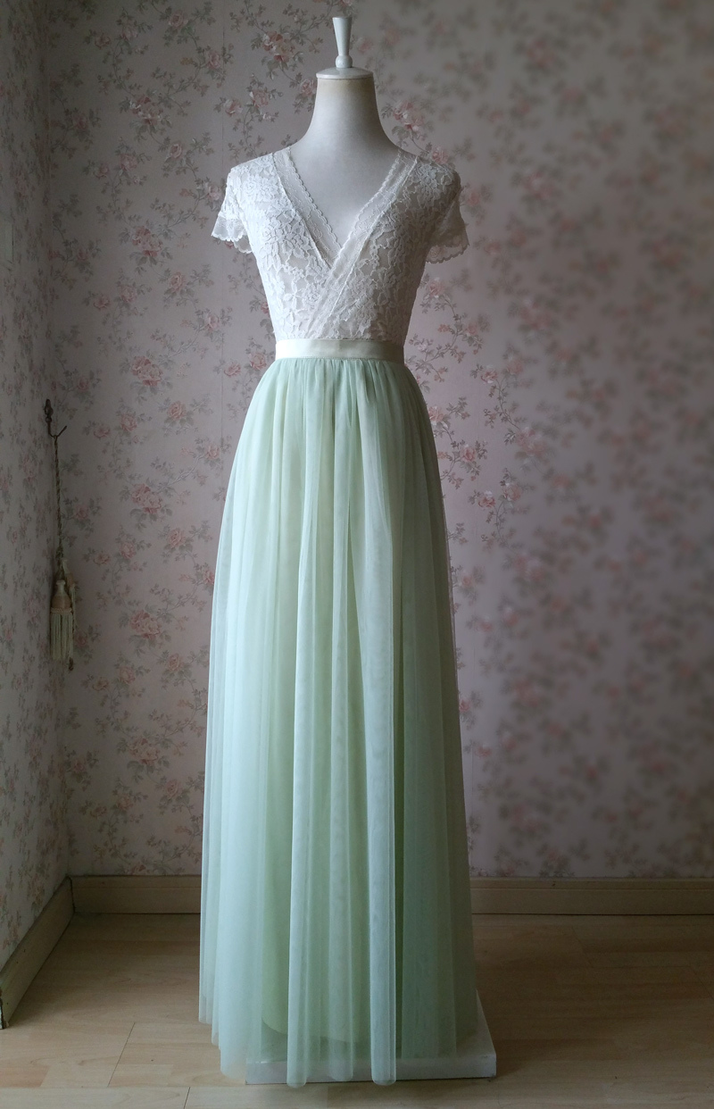 Light green tulle skirt 1