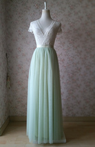 LIGHT GREEN Full Length Maxi Tulle Skirt Green Wedding Bridesmaid Tulle Skirts