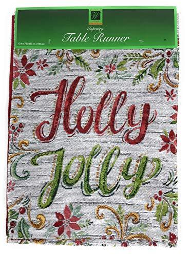 Windham Home Christmas Holiday Tapestry Table Runner, Holly Jolly Poinsettias