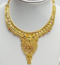 Fashion Jewelry Set Indian Gold Plated Red Pink Bridal Necklace Earrings Set - $19.95