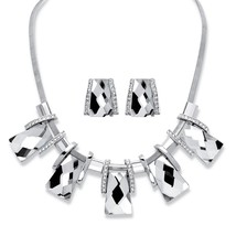 "Crystal Silvertone Vintage-Inspired 2-Piece Earrings Necklace Set 18-20"" - $31.99"