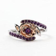 Two tone Lotus Design Amethyst Simulants Engagement ring - Silver Ring -... - $87.40