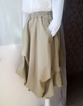 Khaki Linen Ankle Length Skirt Loose Elastic Waist Boho LINEN COTTON SKIRTS NWT image 3