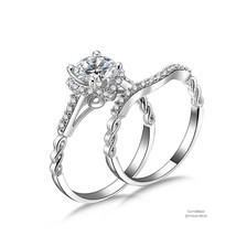 1 ct Round Halo Filigree 925 Sterling Silver Cubic Zirconia Engagement Ring Set - $51.28