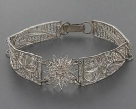 Vintage 800 Silver Cannetille Filigree Floral Curved Panel Bracelet - $12.99
