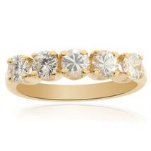 0.90 tcw Ladies Round Brilliant Diamond Wedding Band in 14K Yellow Gold - $919.71
