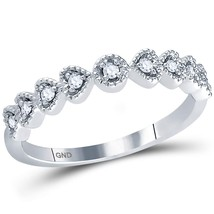14kt White Gold Womens Round Diamond Heart Stackable Band Ring 1/10 Cttw - £212.51 GBP